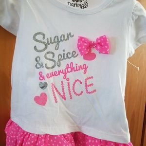 DDG Darlings Shirts & Tops - 👑HP👑 Baby girl's 2pc set with pink & glitter 18M
